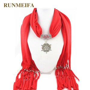 RUNMEIFA New Design Outono Inverno vermelho Mulheres pendant lenço de Natal Papai Noel Xaile Lady Colar Lenços Wraps Tassel Retro