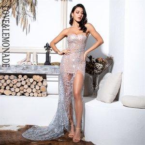 LoveLemonade сексуальный серебро без бретелек вырезать геометрический элемент блеск клееный материал Bodycon Maxi платье LM81530 T200306
