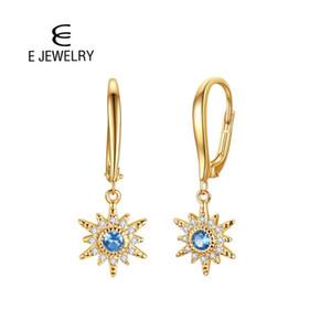 E 925 Sterling Silver Star Шарм падение серьга для женщин Позолоченного с голубым фианитами Leverback серьги Fine Jewelry