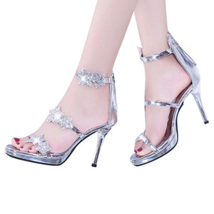 SAGACE Womans Sandals Summer Woman Shoes Ladies Thin Heel Sandals Platform Women Fashion Casual Shoes Crystal Summer