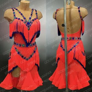 Rumba jive chacha latin dance dress, ballroom dress, dans slijtage fringe latin dress dance competition costumesdance wear