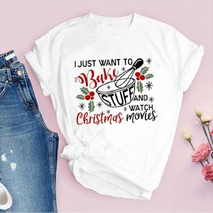 Tees For Stampa Lettere Lettere Movies Bake Moda 90s Merry Christmas Vestiti Lady Top Abbigliamento femminile T Shirt Graphic T Shirt