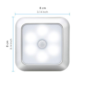 6 LED Night Light Battery Powered Motion Sensor Light Step Stair Closet Light for Home Kitchen Hallway Cabinet Closet Bathroom GWD4797