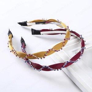 Rhinestone Braid Bezel Hair Hoop For Women Elastic Fashion Hair Bands Headband Narrow Headdress Hair Accessories