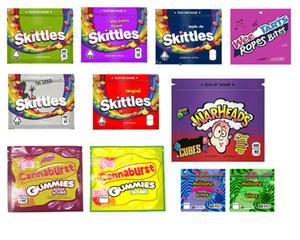 Kese Edibles Paketi gummies Depolama Perakende Ambalaj Skittles 400mg Weedtarts Milyonlarca Bites Harp Başlığı patlaması Mylar Çanta Fermuar Çanta
