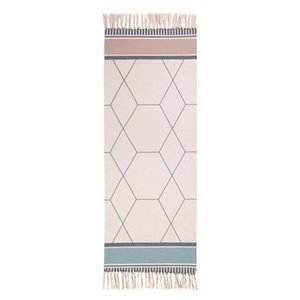 Cotton Linen Area Rug Woven Fringe Throw Rugs Print Tassel Welcome Door Mat Machine Washable Floor Runner Rug for Porch Kitchen