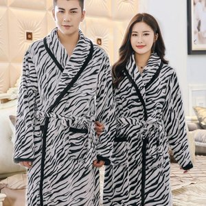 Lovers Winter Flannel Kimono Robe Nightwear Female Intimate Lingerie Casual Bathrobe Gown Coral Fleece Nightgown Home Clothing