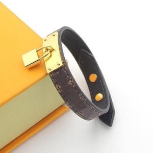 16 cm Venta caliente 316L Joyería de acero inoxidable Lock Lock V Pulseras Brazaletes Pulseiras Pulseras de cuero para mujeres / Hombres Joyería