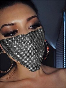 Trendy Bling Rhinestone Face Mask Jewlery for Women Face Body Jewelry Night Club Decorative Jewellery Party Mask