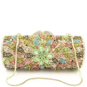 Вечерние сумки Multi Color Gold / желтый / синий / зеленый камень Crystal женский кошелек Металлическая сумка свадебные свадьбы мини-бриллиантные сумки1