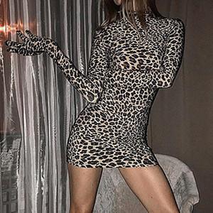 Sexy Women Leopard Mini Dress Autumn Winter Long Sleeve Gloves Turtleneck Sheath Mini Dress Club Party Ladies Size S-L