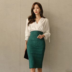 Elegant OL Style 2 Pieces Set V-neck White Blouse & High Waist Suede Hip Package Skirt Autumn Office Ladies Women Set 201007