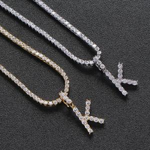 2020 New fashion hip hop Men women pink cz letter charm pendant necklaces iced out cubic zirconia 4mm cz tennis chain jewelry