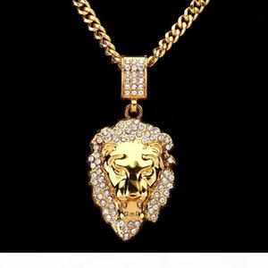 Europe And The United States New Ultra-Flash Drilling Lion Head Hip-Hop Necklace Jewelry Lion Head Necklace Hip-Hop Fashion Pendant