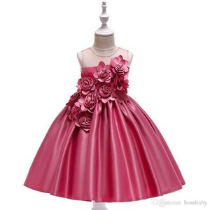Girls Princess Ball Gown Solid Bow Gauze Sleeveless Flower Dresses Kids Casual Clothes Girl Full Dress 07