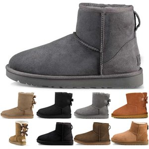 Fashion WGG Women's Australia Boots Classic Ankle Chestunt Grey Black Navy Women Snow Winter Bow boot lady booties Size 36-41