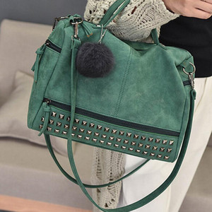 Leather Hair Bags Nubuck Bag Vintage Top-Handle Rivet Women Ladies Ball Shoulder Bag Motorcycle Messenger Handbags Larger Eugeo