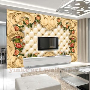 Custom 3D Photo Wallpaper Europe frame luxury rose leather Soft Bedding Room Sofa Backdrop Mural Wall Paper For The Walls 3D