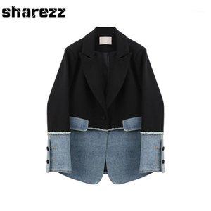 Sharezz Bahar 2020 Yeni Moda Kadınlar Denim Yama Ceket Ceket Slim Fit Uzun Kollu Asimetrik Blazer Tops Ofis Gelgit1
