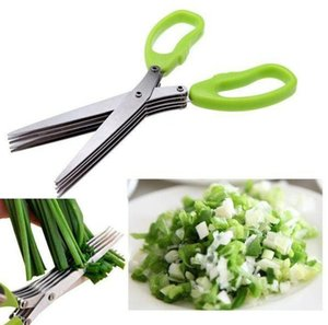 Stainless Steel Cooking Tools Kitchen Accessories Knives 5 Layers Scissors Sushi Shredded Scallion Cut Herb Spices Scissors2021
