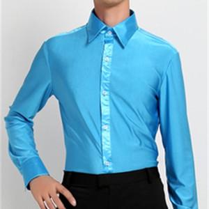 camisas de baile latino hombres elasticidad manga larga para hombre camisas latinas rojas blancas azules azules tops para hombre