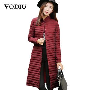 Vodiu Parka Kadınlar Kış Ceket Uzun Down Jacket Kadın Parkas Kadın Uzun Kollu İnce Moda Pamuk Katı Yılbaşı Sıcak Satış 201029