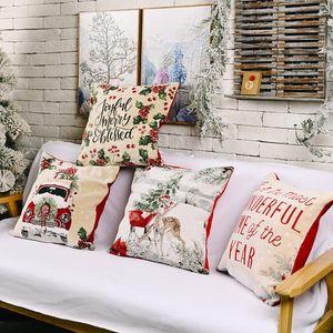 Nouveau taie d'oreiller à tricoter imitation Noël oreiller atmosphère européenne et américaine taie carrée cas T3I51349