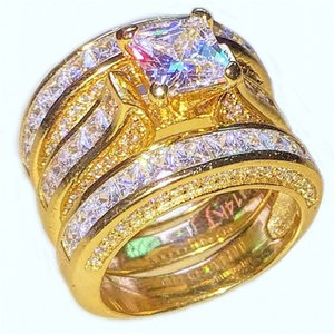 wholesale Luxury 14K gold filled Ring Jewelry Square topaz CZ Simulated Diamond gemstone Rings set Cocktail Wedding Band Ring For Women 3in1