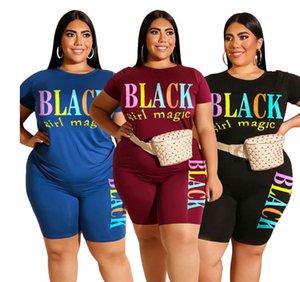 FAT MM Большая женская повседневная буква напечатана шорты футболки