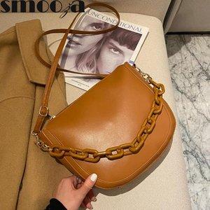 Smooza Lady Omuz Messenger Çanta Kadın Trendy Moda Büyük Kapasiteli Zincir Çanta 2021 Yeni PU Deri Katı Renk Çanta