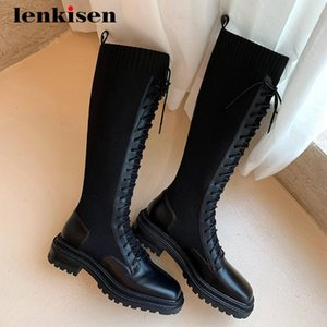 Lenkisen motorcycle boots natural leather knitting platform square toe thick med heel lace up neutral punk knee-high boots L93