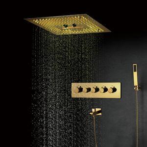 Bagno Ti-PVD Oro Colore set doccia Misty Massaggi Soffioni doccia a pioggia Sistemi termostatiche miscelatore d'ottone Valvole