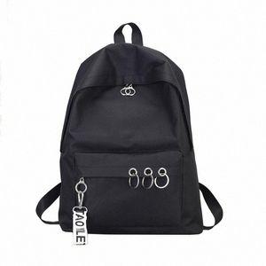 45# Fashion Men Women Backpack Waterproof Canvas Travel Backpack Female Ring Decoration Shoulder Bookbags Satchel Travel mzMS#