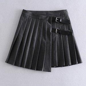 Kumsvag 2020 Summer Femmes Souces Jupes plissées Solid 100% coton Nouveau Mode Street Sexy Jupe Sexy Jupes occasionnelles élégantes J0118