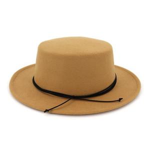 European US Classic Retro Flat Top Bowler Hat Wool Felt Fedoras Hats Flat Brim Party Formal Top Hat for Women Ladies