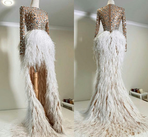 2021 Sexy Illusion Top Evening Dresses with Sequins Hi Lo Feather Skirt Prom Gowns Long Sleeves Second Reception Party Formal Dress AL7361