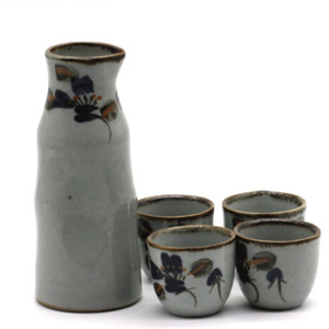 5pcs einfache Handgefertigte Keramik-Stein-Blumen japanische Sake Set Sake Wein-Topf-Sake-Wein-Schalen-Geschenk