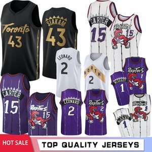 NACC 43 Pascal Siakam 2 Camisetas de baloncesto de la universidad Kawhi Leonard 7 Kyle Lowry 15 Vince Carter 23 Fred VanVleet 1 Tracy McGrady Toronto Raptors 2020 Nuevo
