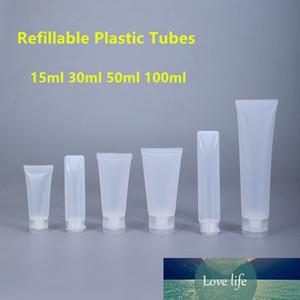 5PCS vazio Squeeze frasco plástico Tubos Cosmetic recipientes recarregáveis de plástico Tubos de viagem 15ml 30ml 50ml 100ml