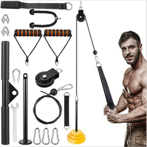 12 Set Home Workout Fitness Equipment DIY Gym Pulley System Kit Arm Tricep Biceps Training Lifting Loading Pin Grips Cable Straight Bar