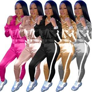 Женская осень Sportwear Лоскутная Набор Zipper Топы Jogger Брюки Комплект Tracksuit Matching двухкусочный Outfit Активный Sweatsuit