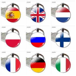 Europe Pays Royaume-Uni France Italie Espagne Russie Poland.Netherlands Irlande Drapeau Keychain Porte-clefs Drapeau Pendentif Porte-clés