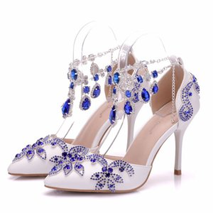 Hot Sale- Fashionl Elegent pointed toe shoes for women blue crystal chain high heel wedding shoes thick heels Beautiful rhinestone Plus Size