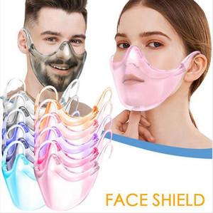 Transparent Protective Mask Shield PC Anti Splash Isolation Mouth Cover 9 Colors Unisex Outdoor Transparent Designer Mask DDA747