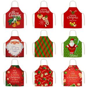 Merry Christmas Apron Cartoon Christmas aprons Santa Claus Kitchen aprons festival party Decor Xmas Gifts T9I00705