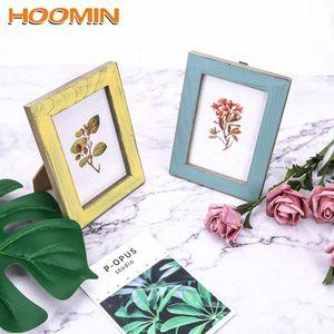 HOOMIN Holz Hochzeitspaar Bilder Frames Kreative 5 Farben Vintage Photo Frame Home Decor Geschenk DgWK #