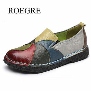 2020 New Women Ladies Female Shoes Flats Mother Shoes Cow Genuine Leather Loafers Colorful Non Slip On Designer Plus Size 35-42