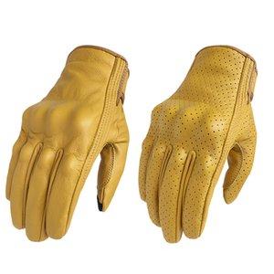 Motorcycle Gloves Touch Screen Leather Yellow Tactics Glove Men Women Bike Cycling Full Finger Motorbike Motor Motocross Luvas 201019