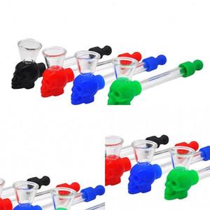 Multicolor verre fumée pipe crâne silicone lisse Mini pratique Nettoyage amovible Portable beau travail Nouvelle arrivée 4nt F2