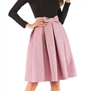 Bow pleated skirt women high waist short midi skirt female 2020 fashion Ball Gown spring autumn women skirts clothes MDR1404